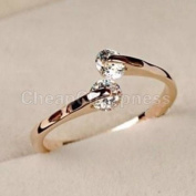 HOT Women 18K Rose gold GP  .   Crystal Engagement Wedding Band Ring
