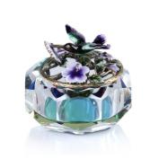 Welforth Purple Hummingbird Crystal Trinket Box Model No. J-574
