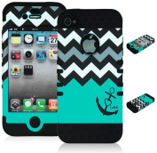 Bastex Heavy Duty Hybrid Case for iPhone 4, 4s, 4th Generation - Black Silicone / Teal & White Chevron Pattern Hard Shell with Anchor & Heart Design
