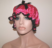 . Waterproof Satin Spa Shower Cap Bath Cap - Spot Pink - Young and Pretty