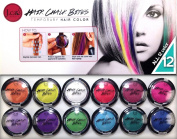J.cat Beauty Temporary Hair Colour - Hair Chalk Bites Set of 12 Premium Colours