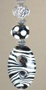 Black and White Zebra Stripe Lampwork Glass Light or Ceiling Fan Pull