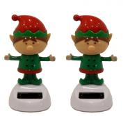 Set of 2 Solar Powered Dancing Christmas Elves