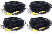 VideoSecu 4 Pack 46m Video Power CCTV Security Camera Cables with BNC to RCA Adapter Connector 1OA