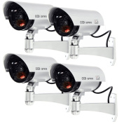 Masione 4 Pack Outdoor Fake/ Dummy Security Camera w/ Blinking Light CCTV Surveillance