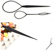 NEW 2 Piece Black Women Girls Topsy Tail Hair Accessorie Magic Pin Hair Styling Tool Braid Ponytail Maker Topsy Tool Pony Tail Hairstyle Party Hair
