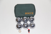 73mm Metal Petanque Set with 6 Silver Balls and green Case