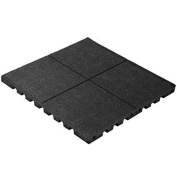 PlayFall Playground Safety Tile, Black, Single Pack - . x . Rubber Tile (0.4sqm) 4.4cm Thickness