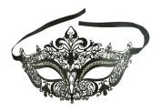 Kayso Inc Black Luxury Filigree Laser Cut Venetian Masquerade Mask