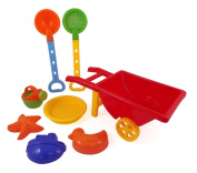 Beach Wheelbarrow Waggon Toy Set for Kids with Sand Shovel & Sifting Pans