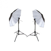 StudioPRO 850W Photography Portrait Studio Continuous Lighting 2.1m Light Stand Two Light Black on White Umbrella Kit with Two 85W CFL Bulbs