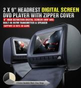 Xtrons Black 2x Car Headrest DVD Player 23cm Hd Screen USB Sd Slot Game Ir Headset