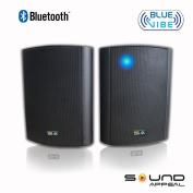 Bluetooth 17cm Indoor/Outdoor Weatherproof Patio Speakers (Black- pair)- BlueVIBE by Sound Appeal