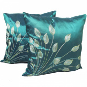 (Double) 2 Beautiful Thai Silk Throw Pillow Cover Cushion Case Handmade Toss Pillowcase with Hidden Zipper Closure 43cm X 43cm