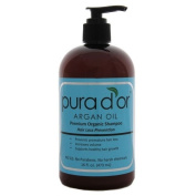 Pura d'or Hair Loss Prevention Premium Organic Shampoo, Brown and Blue, 16 Fluid Ounce. With a Set of Combs