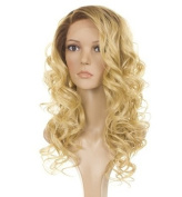 Holly Human Hair Blend Wig| Long Curly Rooted Apricot Blonde Lace Front Wig