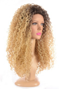 Rooted Popcorn Blonde Long Spiral Afro Lace Front Wig | Queen Bey Style Wig