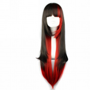 MapofBeauty Harajuku Style Mixed Black/ Red Long Straight Cosplay Wig