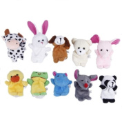 Eozy Pack of 10pcs Velvet Animal Style Finger Puppets Set Soft Toy Learn & play Story