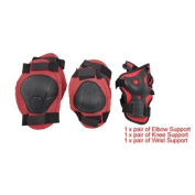 TOOGOO(R) Red Black Skate Sports Knee Elbow Wrist Pad Support for Children