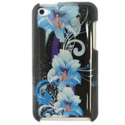 Blue Flower 2d Hard Snap-on Crystal Skin Case Cover Accessory for Ipod Touch 4th Generation 4g 4 8gb 32gb 64gb New By Electromaster