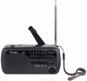 Kaito V1B Voyager Solar/Dynamo AM/FM/SW Emergency Radio with Cell Phone Charger and 3-LED Flashlight, Iron Grey
