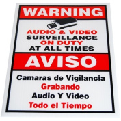 GW Security 23cm x 28cm Warning Security Sign for CCTV Security Camera Video Surveillance System