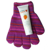 Exfoliating gloves pink stripe with body lotion