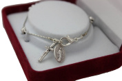 First Communion Elegant White Heart Rosary Youth Chain Bracelet with a Small Silver Oxidised Crucifix and Miraculous Medal in Gift Box