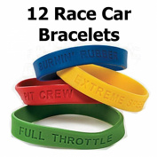 12 ~ Race Car Rubber Bracelets ~ Burnin' Rubber, PIT Crew, Extreme Speed, Full Throttle ~ 20cm Circle ~ New