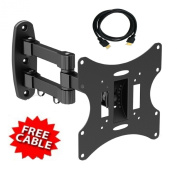 Mount-It! Single Arm Articulating Mount for 17 to 110cm TV's, Black With FREE HDMI CABLE!!!