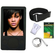 iShoppingdeals - Black Silicone Skin Case Cover + Lanyard + Clip + Screen Protector for Microsoft Zune 80GB 120GB