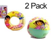 2-PACK Dora the Explorer Inflatable Swim Ring 50cm (Dora's Day at the Beach) & 50cm Beach Ball (Play Time Adventure) - Summer Toys