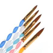 5 x 2-Ways Nail Art Acrylic UV Gel Brush Drawing Pen Cuticle Pusher Tool Set