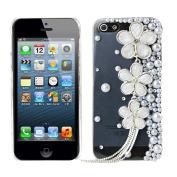 EVTECH(TM) Pearl Flower GEM Series Luxury Crystal Diamond Bling Design Cover Case Iphone 4 4g 4s