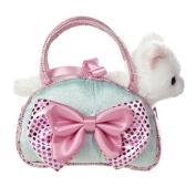 Aurora World Fancy Pals Toy Pet Carrier Plush Purse, Blue Bows