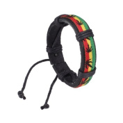 Artificial Leather Bracelet Jamaica Reggae Hiphop Style w/ Hemp Leaves Wristband