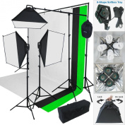 Linco Lincostore 2000 Watt Photo Studio Lighting Kit With 3 Colour Muslin Backdrop and Background Stand Photography Studio Flora X Fluorescent 4-Socket Light Bank and Auto Pop-Up Softbox -- Only takes 3 seconds to Set-up