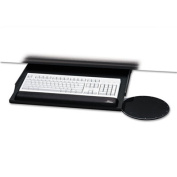 Under Desk Keyboard Tray with Oval Mouse Platform, 22 x 19, Black