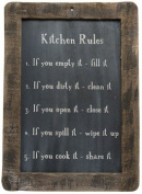 Framed Kitchen Rules Blackboard - Primitive Country Rustic Reminders Wall Decor