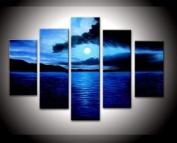 Santin Art - 100% Hand-painted. Wood Framed on the Back Artwork Dark Blue Ocean White Sun High Q. Wall Decor Landscape Oil Paintings on Canvas 5pcs/set