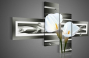 Santin Art - 100% Hand-painted. Wood Framed Black Pure White Lilies Home Decoration Landscape Oil Painting on Canvas 4pcs/set Wood Framed Mixorde