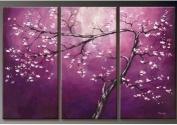 Santin Art - 100% Hand-painted Sales Promotion Wood Framed on the Back Purple Flower Tree Home Decoration Landscape Framed Oil Painting on Canvas 3pcs/set