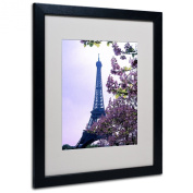 Trademark Fine Art Eiffel Tower with Blossoms by Kathy Yates Matted Framed Art with Black Frame
