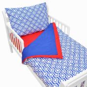 American Baby Company 100% Cotton Percale Toddler Bedding Set, Royal Hexagon, 4 Piece