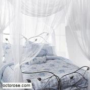 Octorose ® Cream 4 Corner / Post Bed Canopy Functional Mosquito Net Queen King