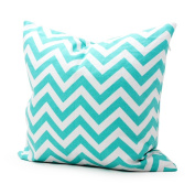 Lavievert Decorative Cotton Canvas Square Throw Pillow Cover Cushion Case Handmade White and Light Blue Chevron Stripe Toss Pillowcase with Hidden Zipper Closure