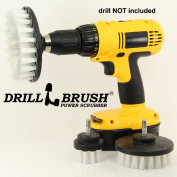 3 Pack Soft White Drill Brush Carpet, Upholstery, and Leather Scrub Brushes