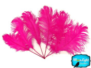 Ostrich Feathers, Hot Pink Ostrich Tail Feathers Wholesale - 0.2kg