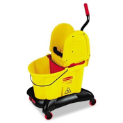 Rubbermaid Commercial RCP7677YEL WaveBrake Dual-Water Down-Press Bucket/Wringer Combo 33.1l Yellow,